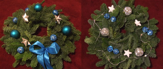 Silver and blue Christmas wreaths