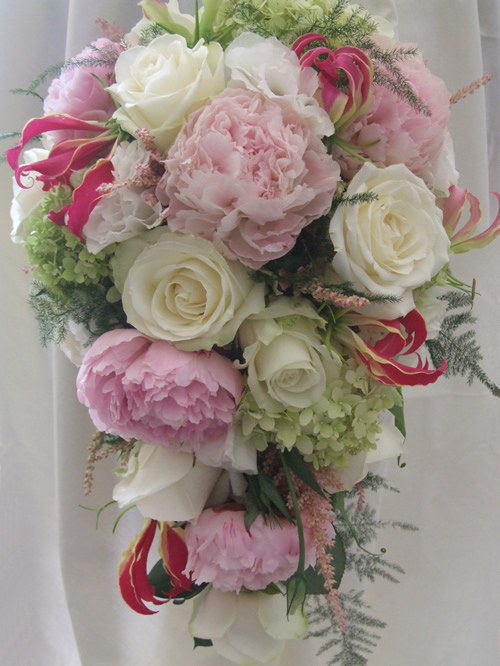 avalanche, peony and gloriosa bouquet