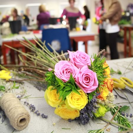kingston-maurward-students-creating-victory-bouquets