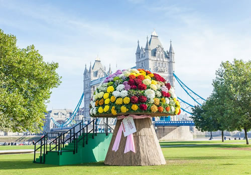 Britain s biggest bouquet at tower bridge playing with for Biggest bouquet of flowers